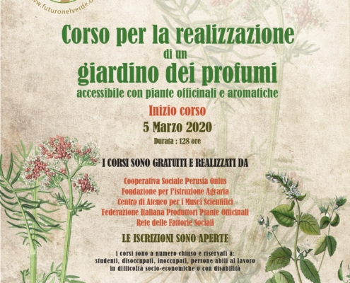 Parte il 5 marzo 2020 il Corso per la realizzazione di un giardino dei profumi accessibile con piante officinali e aromatiche